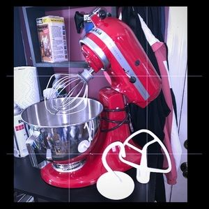 Kitchen-Aid Red Electric Mixer Bowl 3 Attachments